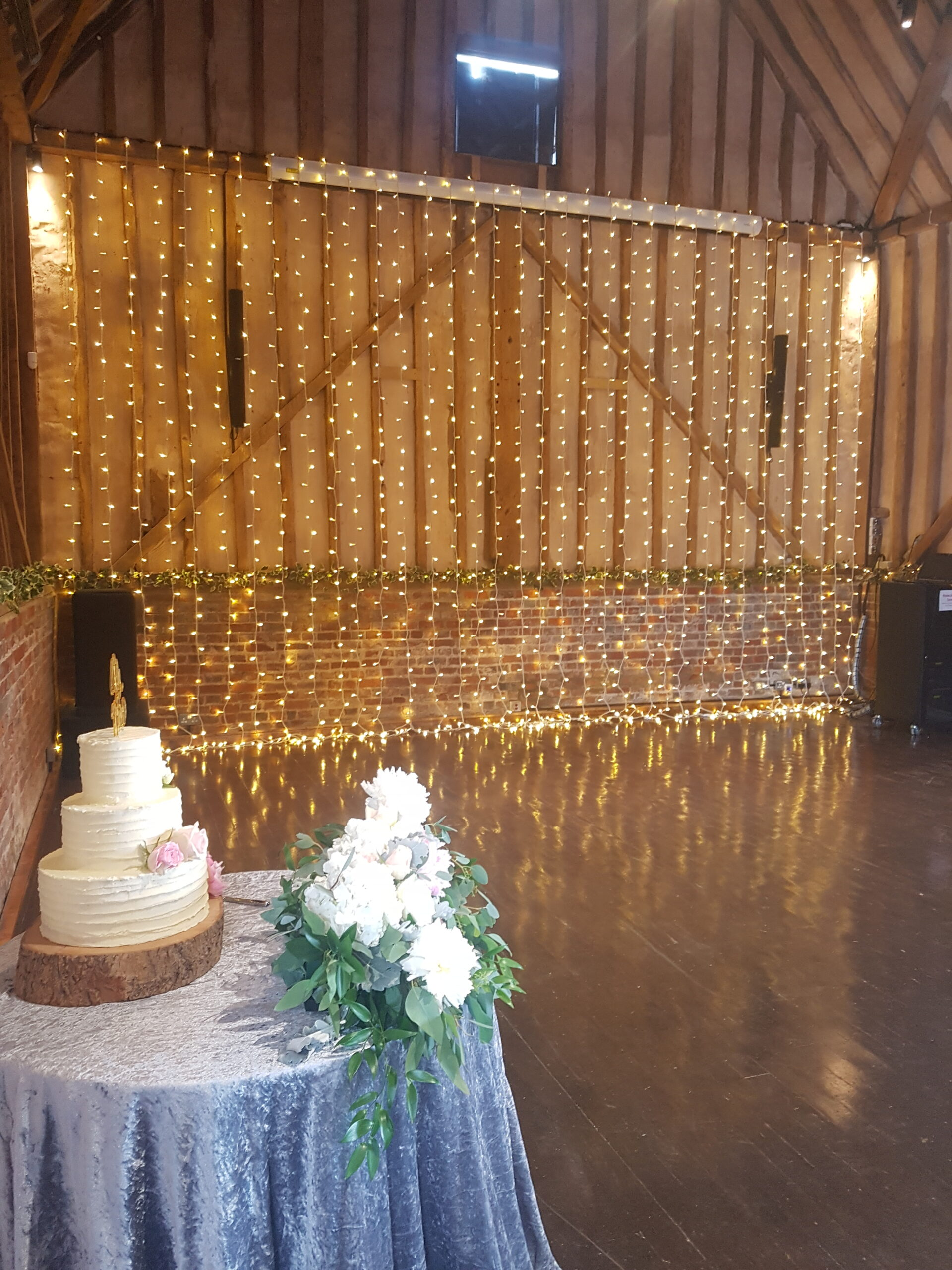 Wedding backdrop of lights.